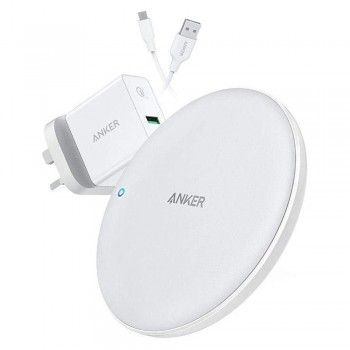 Anker B2514 PowerWave 7.5 Fast Wireless Charging Pad with QC3.0 Charger - White