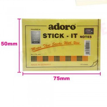 Adoro Stick It Notes Yellow 100s' 50 x 75mm